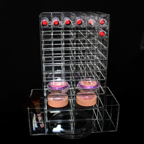 Customized Mould Cosmetic Display Tray/Perspex Acrylic mac Makeup Stand/Acrylic Make Up Cosmetics Display With Round Mirror