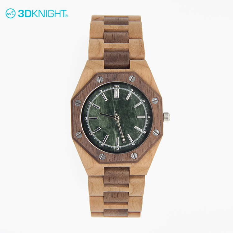 Eco-friendly Cherry+Walnut custom mens wrist wooden watches