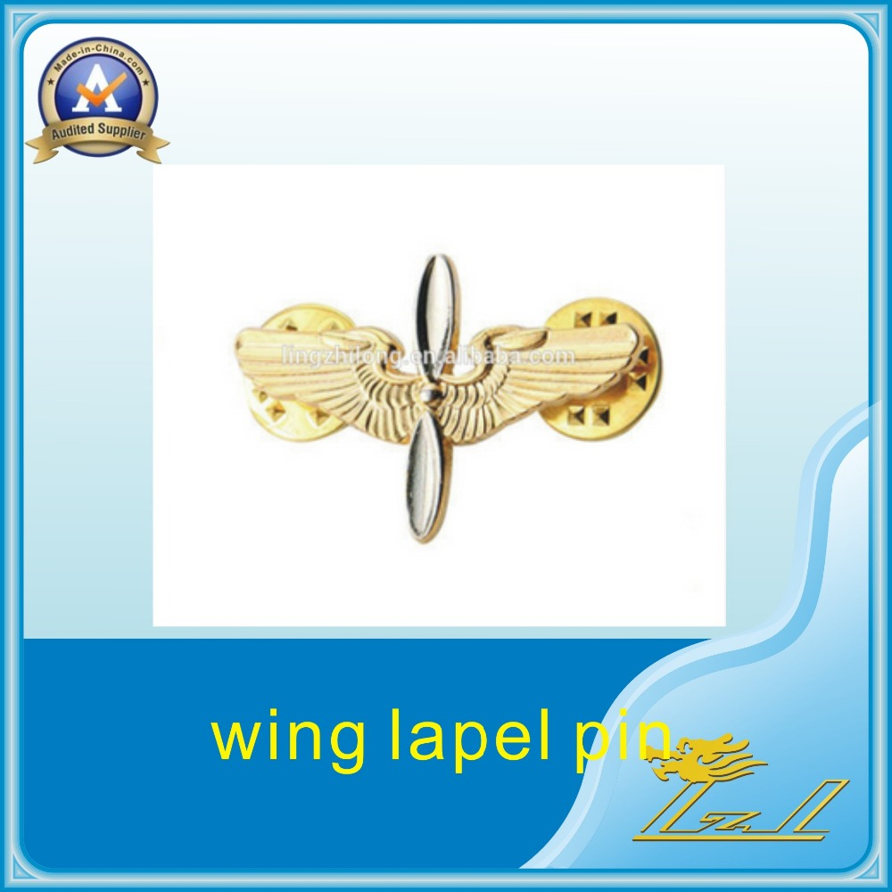 Hot new sale gold wing shape lapel pin children pin badge