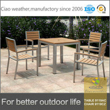 Latest Outdoor Furniture WPC Wood Plastic Composite and Metal Garden Sets