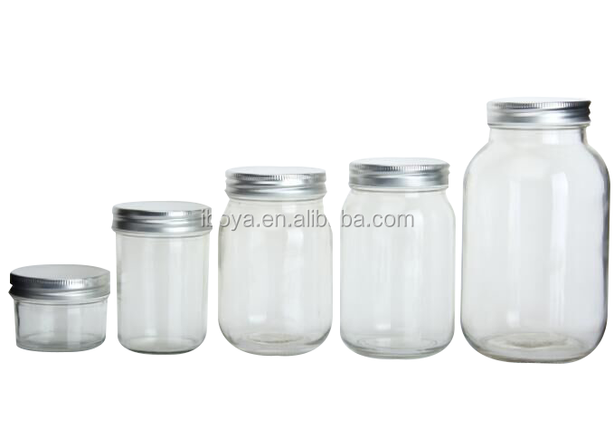 4 oz 8 oz 12 oz 16 oz 32oz Clear Wide Mouth Glass Mason Jar with Metal Lid
