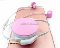 Macarons Cute Colourful 3.5mm Gifts Earbuds Hands Free Mobile MP3/MP4 Sports Retractable Earphones With Package