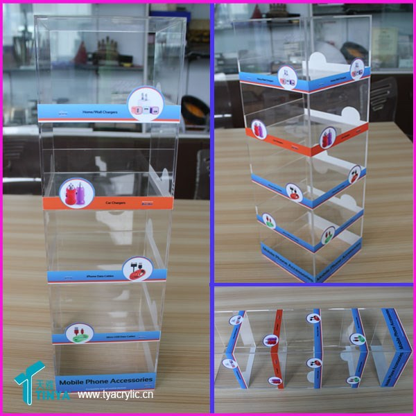 China Supplier Warehouse Perspex Transparent Micro Usb Cables Display Stand Acrylic Counter 5 Shelf Phone Accessories Display