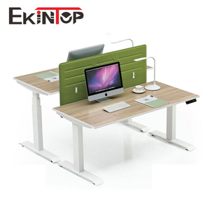 Ergonomic reclining sit stand 2 person computer workstation for 2 person