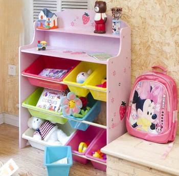 2016 New Design S Pink Toy Storage Shelf With 9 Plastic Bins