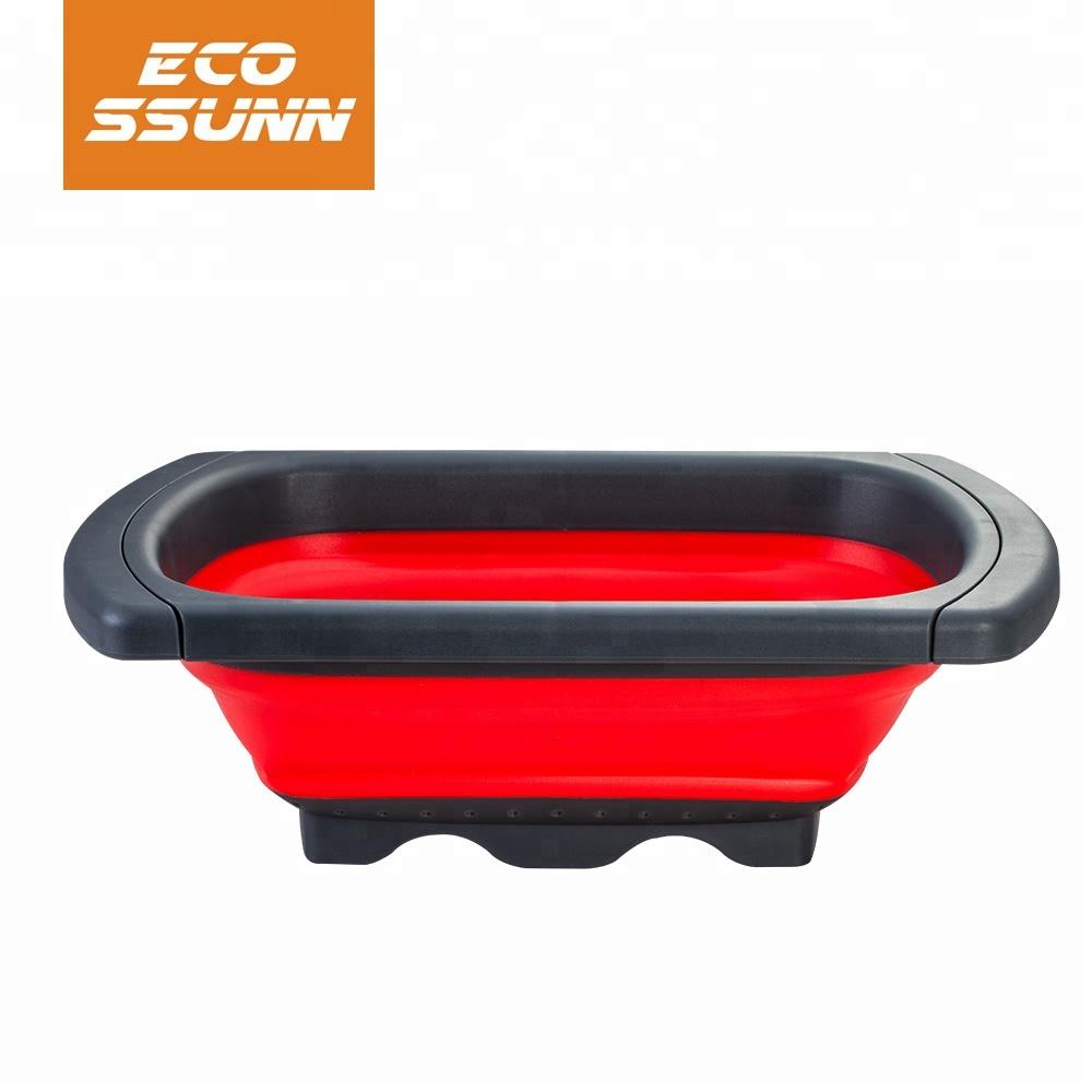 large silicone plastic kitchen collapsible vegetable food colander strainer set
