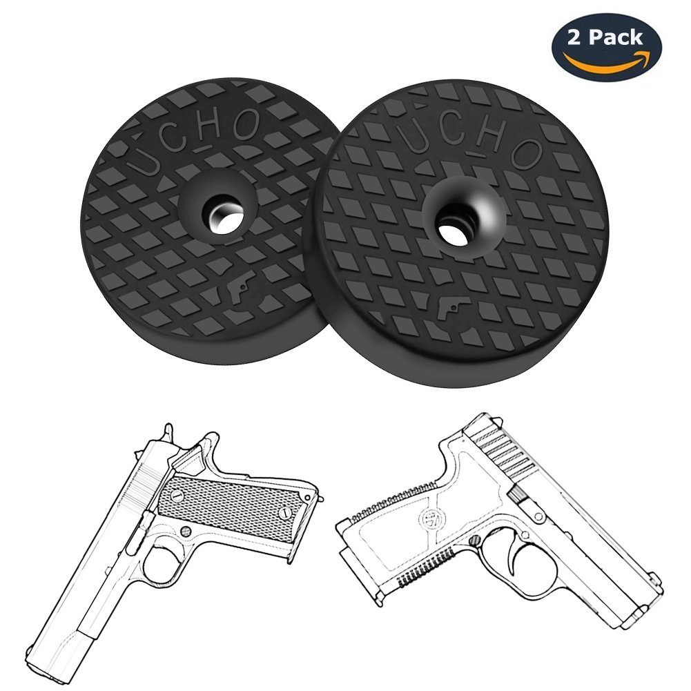 Concealed Magnetic Gun Mount for Cars, 2 Pack Rubber Coated Gun Magnet Mount Holster with Adhesive, Gun Safe Storage and Quick Access to Firearm, Magnetic Holder For Car, Truck, Safe, Desk and Office