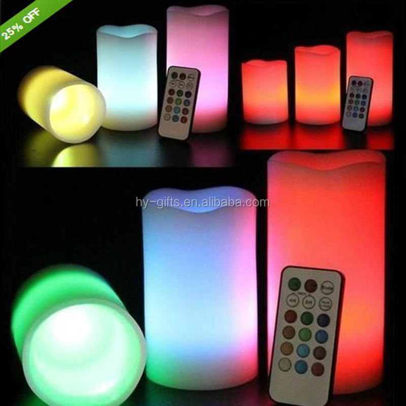 custom control led candle colorful ivory wax remote controller candle