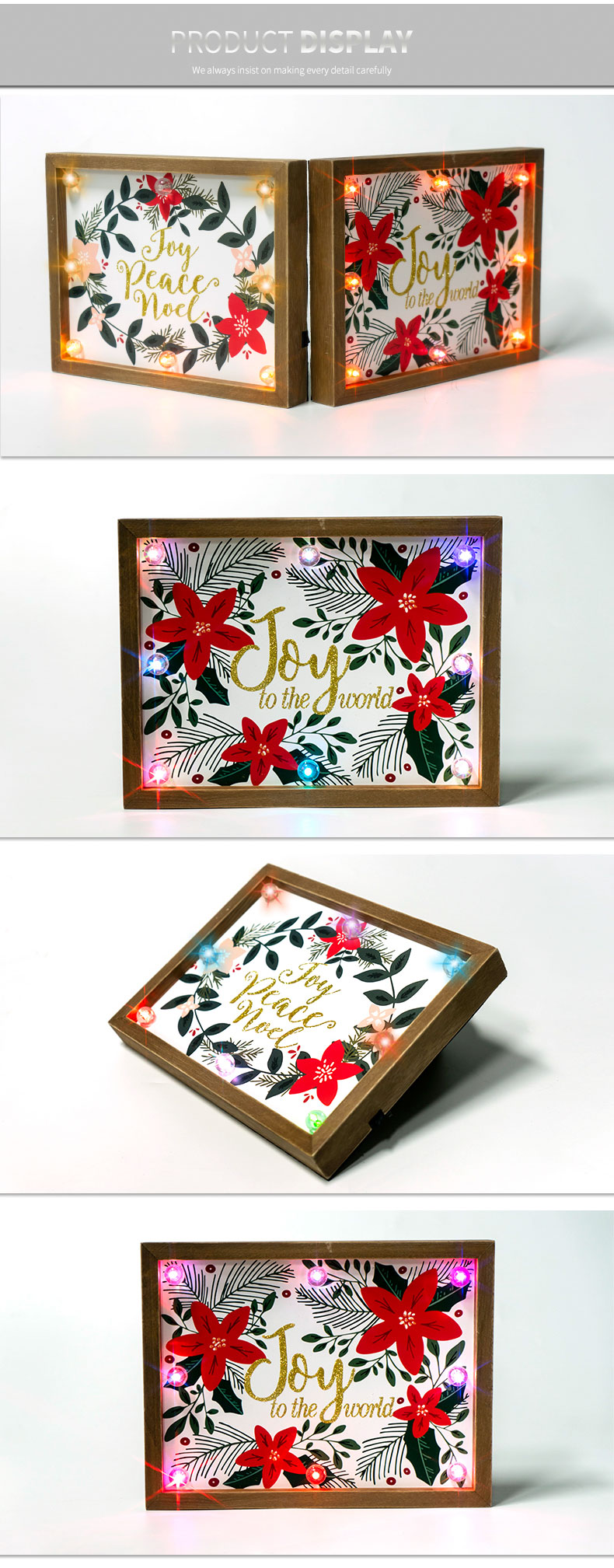 High Quality Home Decor MDF Wooden Square Joy friendly frame box with led light Wall Hanging gift frame