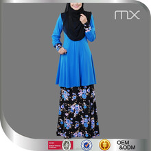 Elegant Malaysia Modern Baju Kurung Fashion Indonesa Blue Tunic Islamic Suit