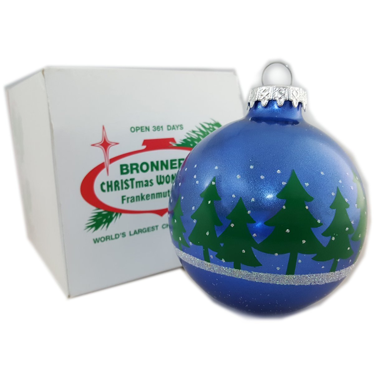 bronners christmas wonderland blue glass ball ornament with christmas trees