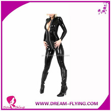 Clubwear Women's Sexy Zip Up Pu Faux Leather Teddy zentai Catsuit
