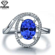 Milky Way high quality happiness blue crystal ring,925 sterling silver rings