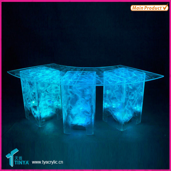 Manufacturer Custom Acrylic Modern Furniture Clear Lucite Acrylic Coffee Tables Acrylic Round Side Table with Magazine Holder