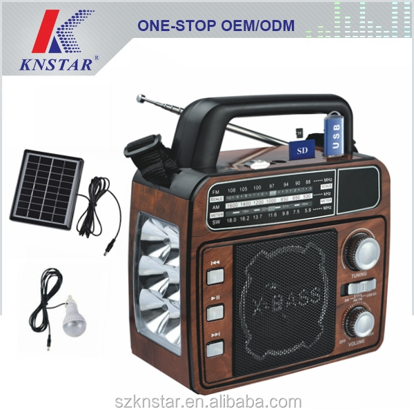 Solar AM FM SW 3 band radio with mp3 player and home lighting
