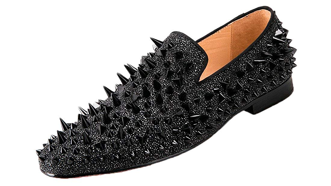 ab592577ea82 Get Quotations · Black Loafers Rhinestone Spiked Long Black Rivet Sparkly  Slip-on Round Toe Low Heel Flats