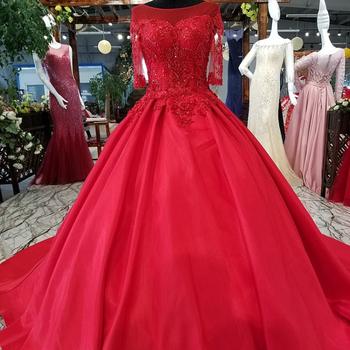 Ls94741 Rojo Vestidos Para Damas De Honor De Media Manga De Apliques De Encaje De Moda Sexy De Mujer Elegante Vestidos Para Fiesta De Noche Buy