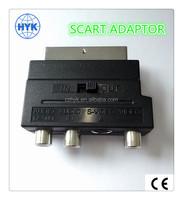 21 pin scart adaptor / scart connector 3 RCA jack audio adaptor