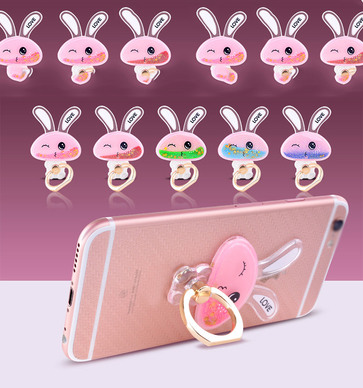 Dynamic Glitter Stars Liquid 3D cute Rabbit mobile phone sucker stand holder For iPhone 5 5S SE 6 6S 7 Plus ring holder Coque