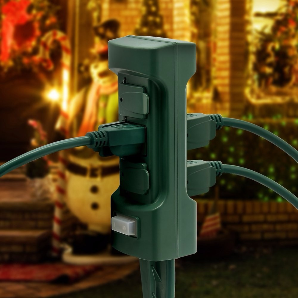 6 Outlet Outdoor Power Stake With Cover And On Off Switch