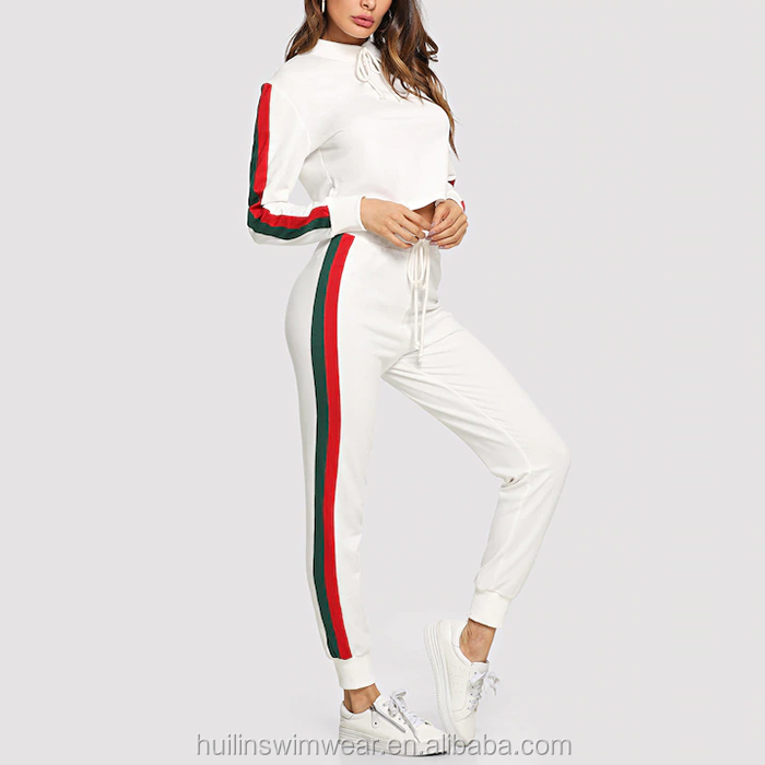 manufacturer custom white tie neck tape side top & sweatpants sets women joggers suits