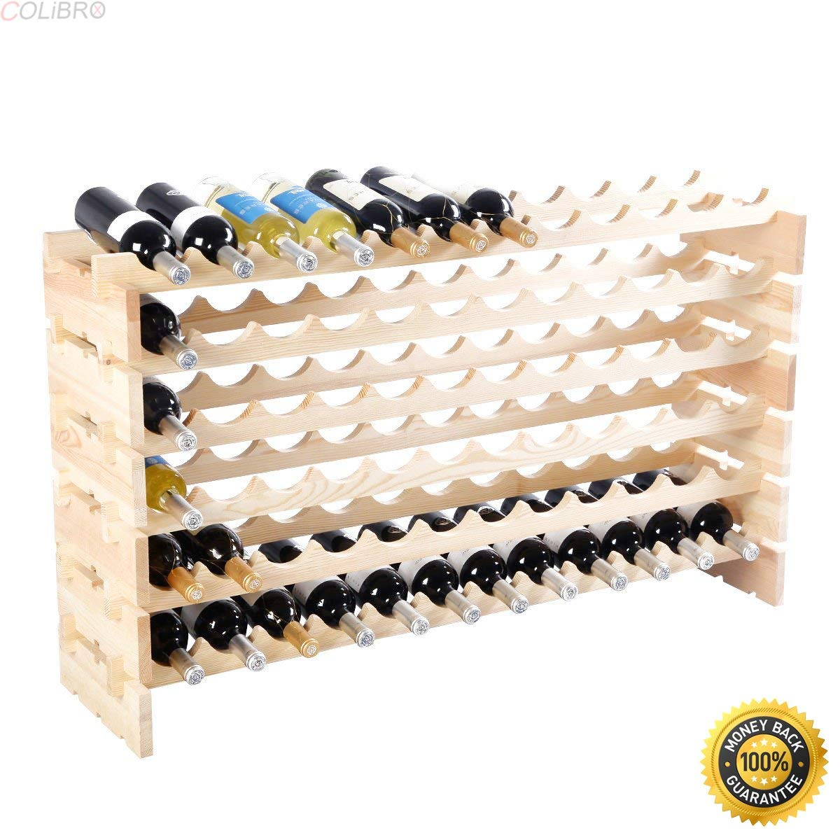 COLIBROX--New 72 Bottle Wood Wine Rack Stackable Storage 6 Tier Storage Display Shelves,wooden wine shelf,wine rack plans fine woodworking,wood wine rack,wine rack