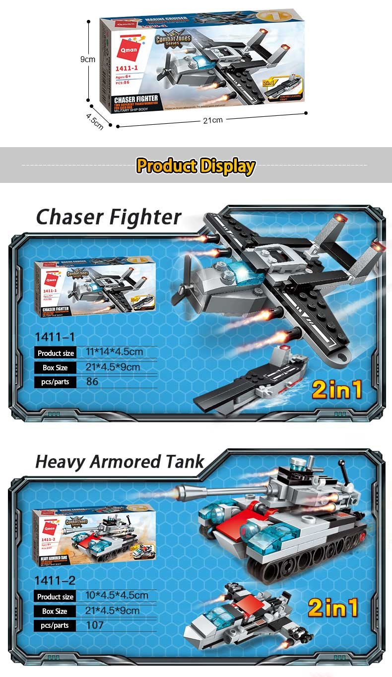 Qman Self-Assembly Toys Plastic 3D Puzzle Aircraft carrier model Building Block Set Bricks Toy For Kids