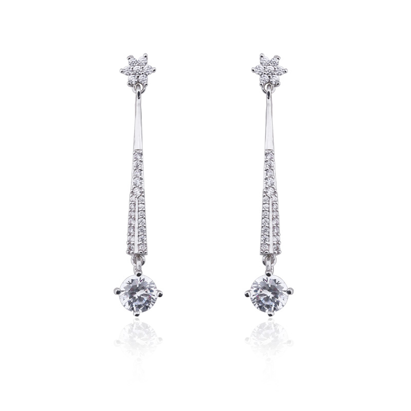 18k white gold cz brass earrings with stone