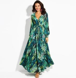 Coldker Womens Chiffon Floral Maxi Dresses Deep V Neck Long Sleeve Summer High Waisted Dress