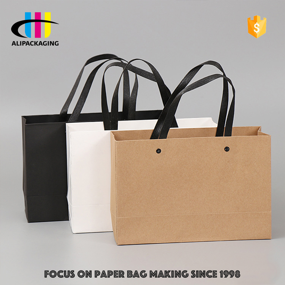 Custom all kinds Recyclable Paper Shopping Bag with Flat Plastic Handles