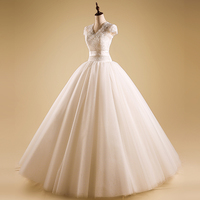Factory wholesaler short sleeve princess fluffy white wedding gown / bridal gown