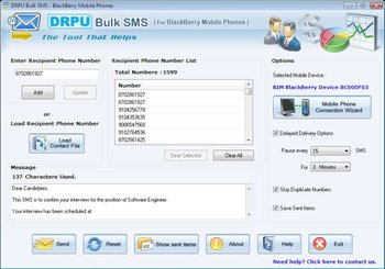 Drpu Group Sms Software For Blackberry Mobile Phones - Buy Free Bulk Sms  Software For Blackberry Mobile Phones Freeware Text Masseging Tool Download