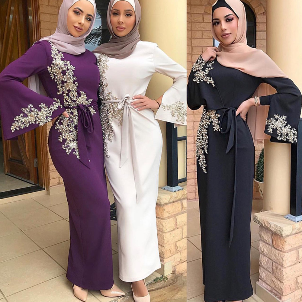 2019 Newest elegant fashion design lace with pearl abaya muslim women turkey dress