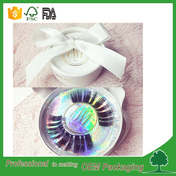 wholesale custom eyelash packaging round box custom gold stamping logo paper tube for eyelash packaging
