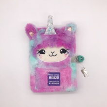 Kawaii Unicorn Plush Cover Fluffy โน้ตบุ๊ค Lock และ Key