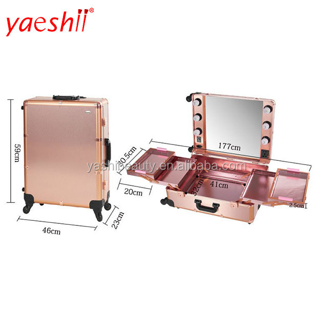 yaeshii Makeup Case with Lighted Mirror Trolley Studio Wheeled Case.