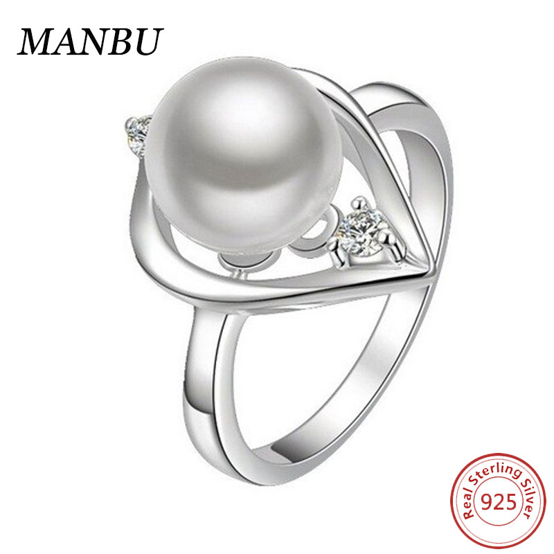 New Fashion Women Girls Jewellery 925 Silver Pearl Dragon Ball Rings R1010