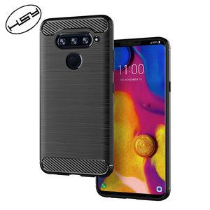 HUYSHE Cell Phone Accessories China PC TPU Black Phone Case For LG V40 Carbon Fiber Case