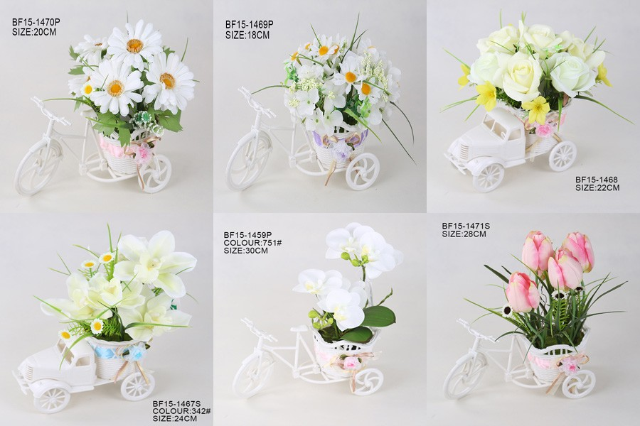 factory handmade mini white artificial rose flower arrangement with plastic car pot