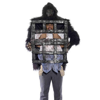 halloween costume frightented gorilla with cage black gorilla cage costume kit