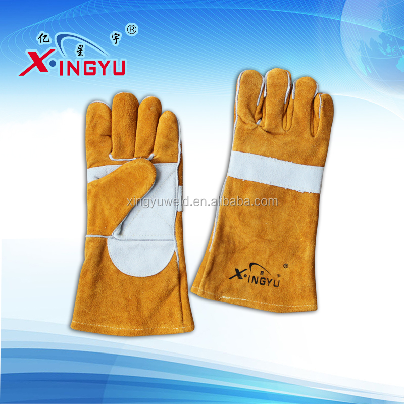 ABC grade Industrial SINGLE/DOUBLE palm safety cow spilt leather cheap welding gloves
