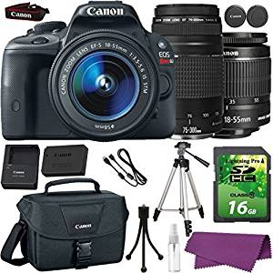 Canon EOS Rebel SL1 DSLR Camera with Canon EF-S 18-55mm IS Lens + Canon EF 75-300mm III Lens + 16GB SD Memory Card + Canon Bag + Cleaning Kit + Tripod