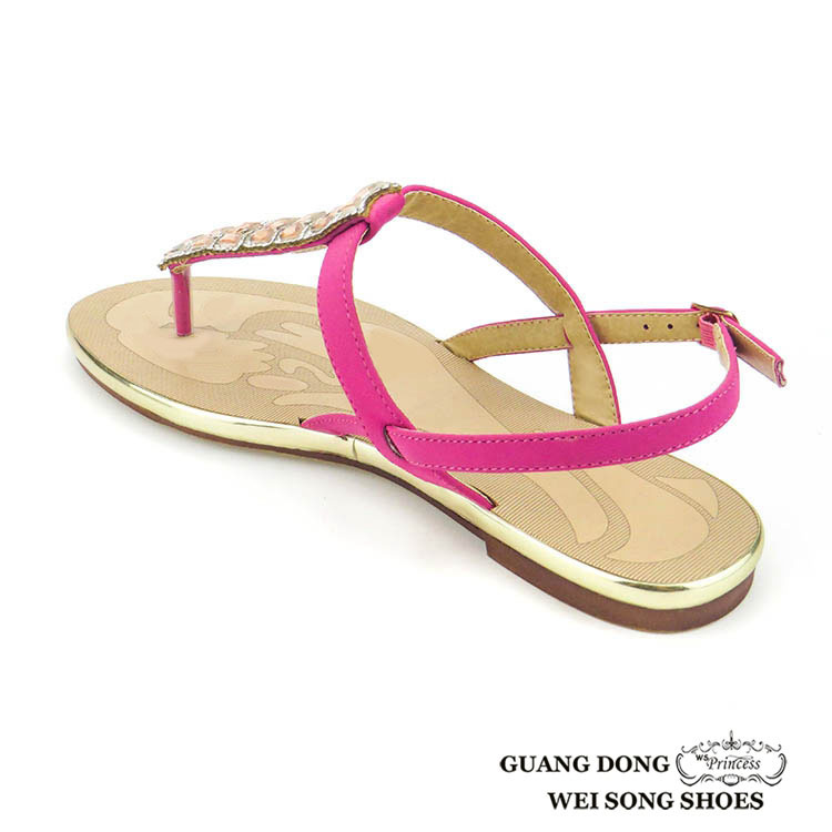 0b535f1e783433 new model rhinestone ornament upper for sandal with stones casual insole  leather fancy woman sandal for