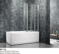 3 panels folding shower waterproof fiberglass window screen for bathtub using