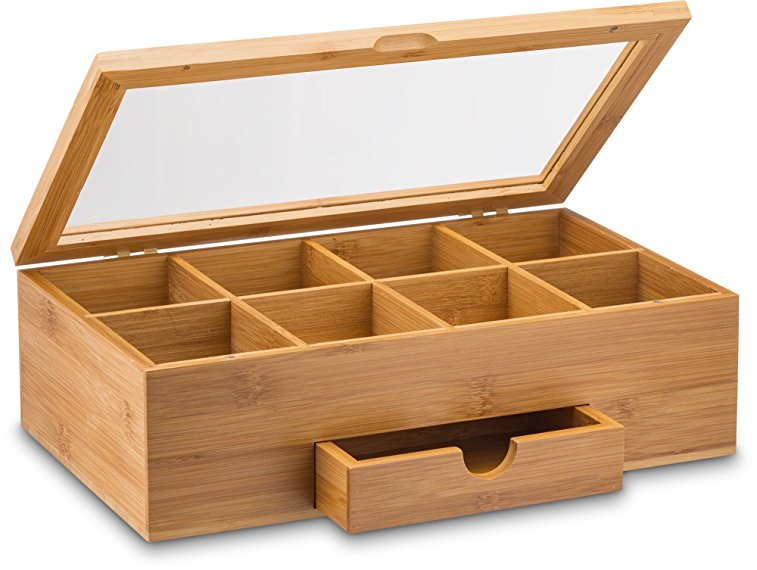 8 compartments bamboo tea box with drawer
