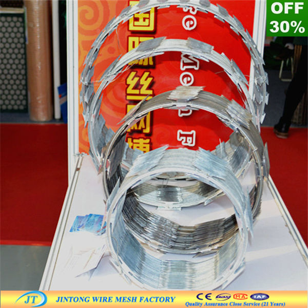 factory wholesale price electro/hot galvanized barbed razor sharp wire