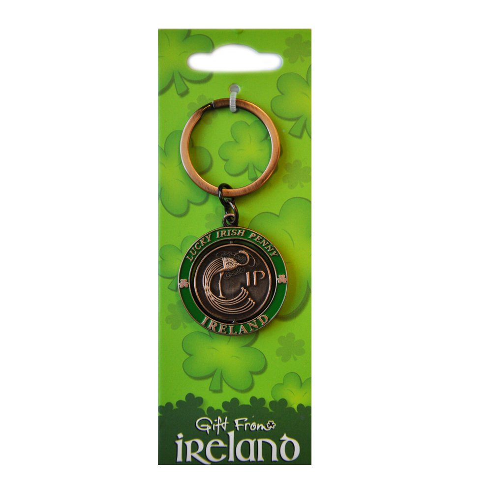 Lucky Irish Penny Spinner Keychain Irish Harp