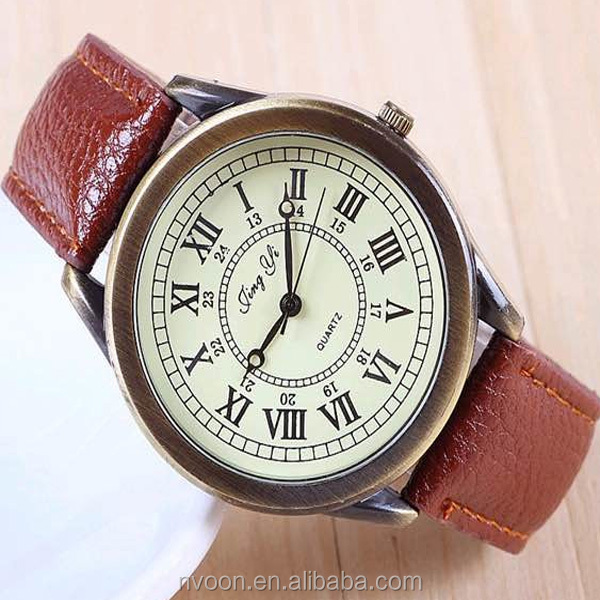 Vintage watch japan movt quartz watch stainless steel leather watch