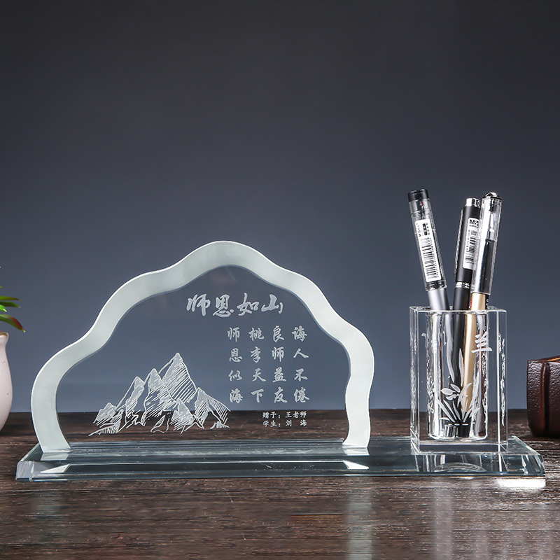 Wholesale Crystal pen holder with Electronic Clock and ID card for office business and Souvenir graduation gift decoration