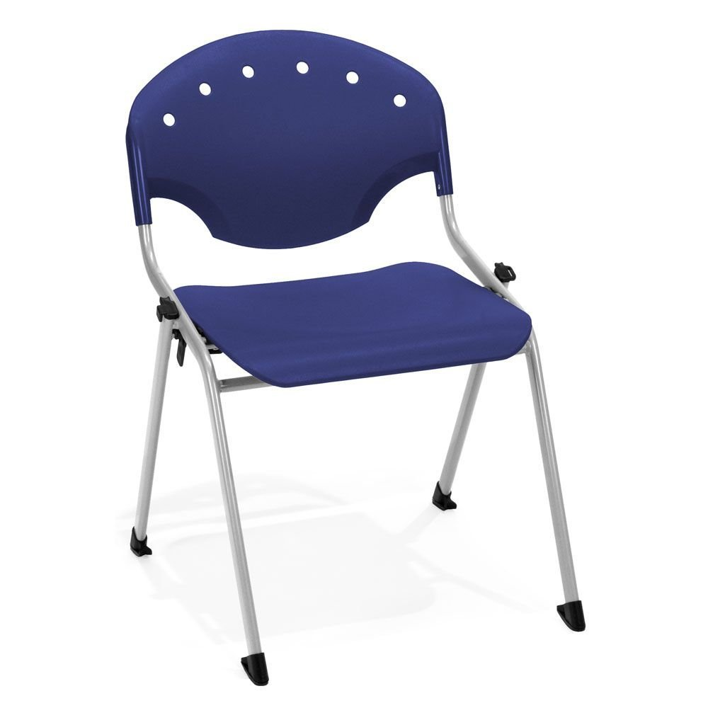 "Armless Stack Chair Dimensions: 22.25""W x 24.5""D x 31.75""H Seat Dimensions: 18.25""Wx16.5""Dx17.75""H Weight: 9 lbs. Navy Polypropylene/Gray Frame"